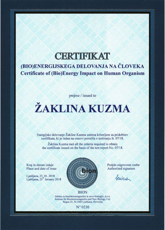 ZAKLINA KUZMA – Certifikatna listina 0230-1
